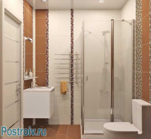 Дизайн ванной с квадратной душевой кабиной. Фото