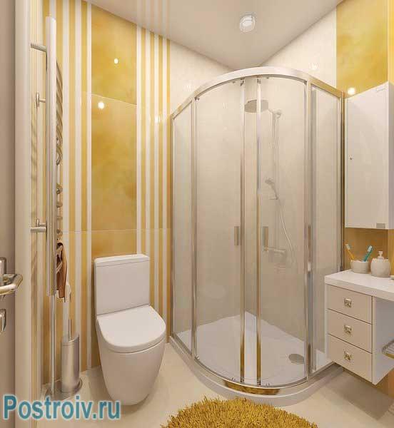 Дизайн ванной комнаты с душевой кабиной. Угловая полукругом