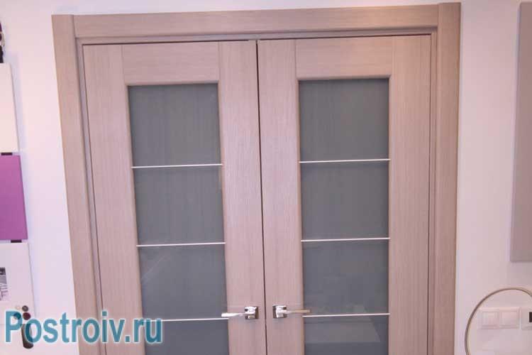 Светлая двойная дверь со стеклом