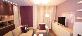 Дизайн спальни гостиной лиловых оттенков. Фото