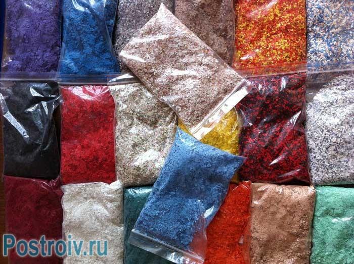 Декоративные составляющие в жидких обоях: бисер, блестки