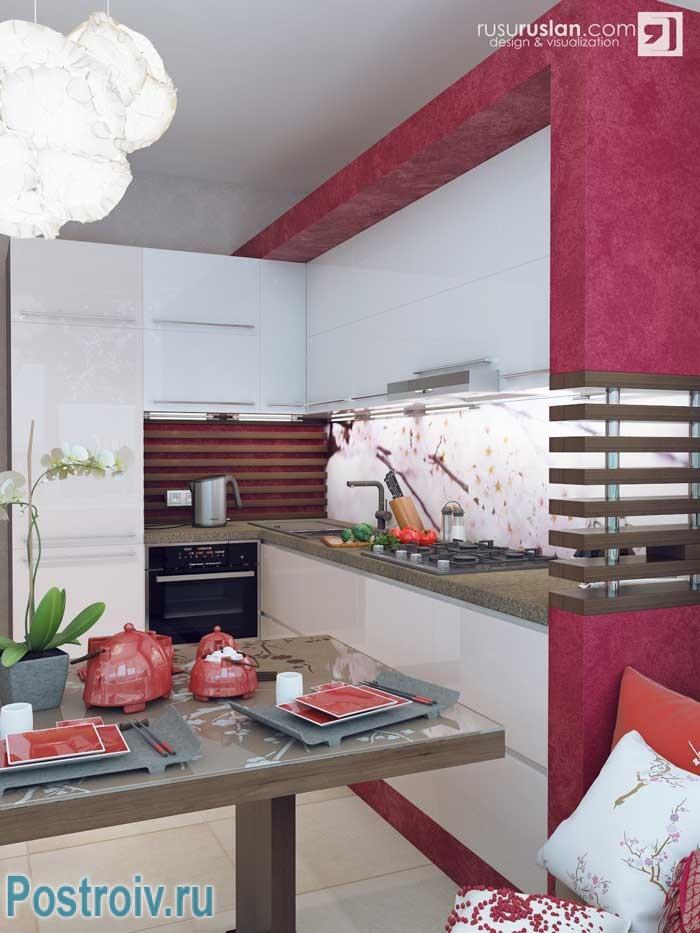 Вишневый цвет в интерьере кухни. Фото