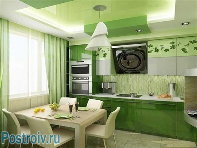 Интерьер кухни в зеленом цвете. Фото