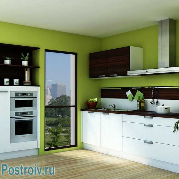 Зеленые стены на кухне. Фото