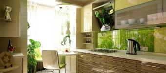 Дизайн кухни коричнево-зеленого цвета