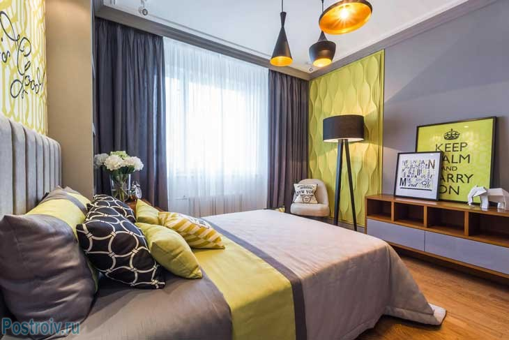 Спальня после ремонта. В такой комнате можно и расслабиться и принимать гостей - Фото