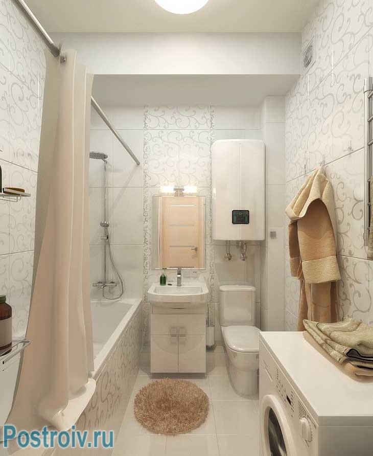 Дизайн совмещенной ванной с туалетом светлый со стиральной машинкой - Фото