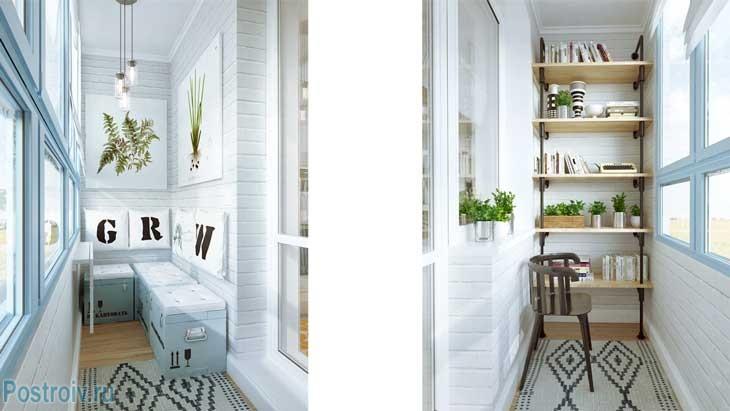 Отделанный балкон для отдыха и чаепития - Фото
