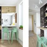 Барная стойка на кухне в роли зонирования помещения. Скандинавский стиль - Фото