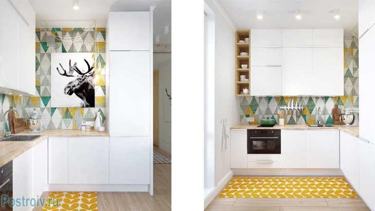 Небольшая угловая кухня в однокомнатной квартире после ремонта. Со встроенной бытовой техникой - Фото