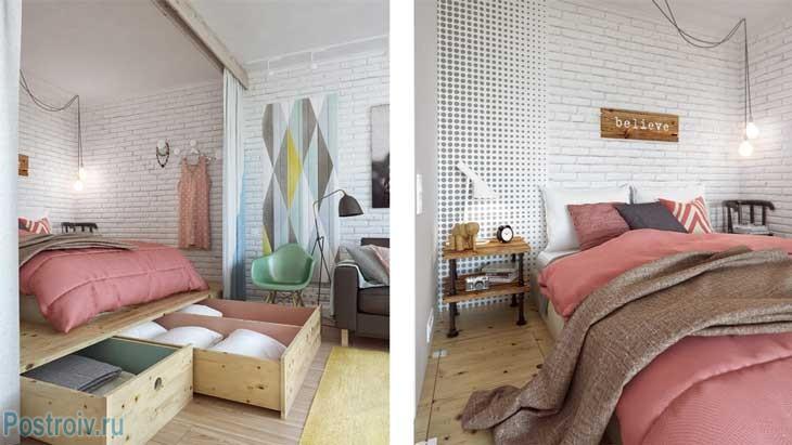 Спальня в скандинавском стиле с модным торшером - Фото