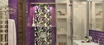 Дизайн сиреневой ванной комнаты с душевой кабиной и ванной. Фото