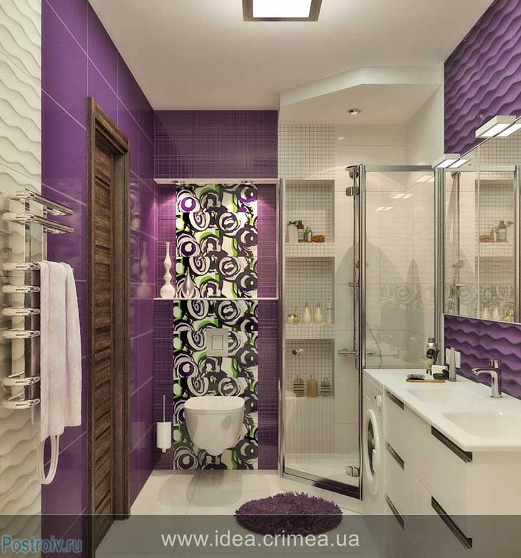 Дизайн ванной фото сиреневого цвета плитка 51