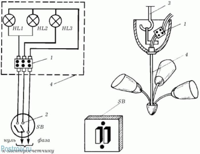 Электрическая схема подключения трех ламп люстры - Фото 09