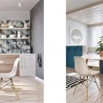 Зона кухни и столовой. Скандинавский стиль в интерьере студии