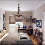 Интерьер кабинета с большой кроватью. Дизайнерская люстра из рогов - Фото