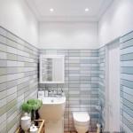 Дизайн маленькой ванной отделанной декоративным кирпичом - Фото