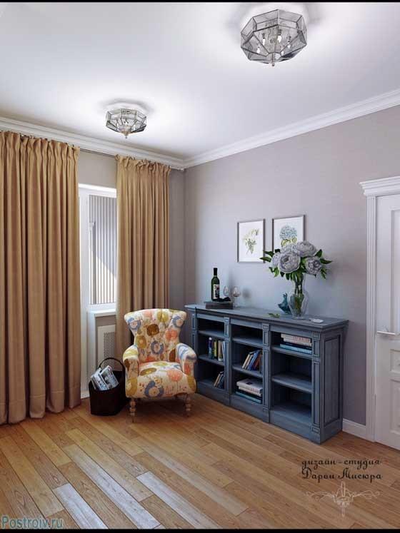 Дизайн большого коридора в квартире. Плотные шторы на окнах - Фото