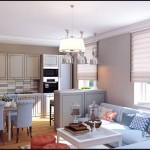 Римские шторы на окнах. Дизайн совмещенной кухни гостиной и столовой - Фото