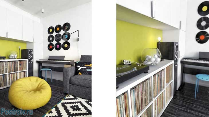 Декорирование гостиной виниловыми пластинками. Фисташкоое кресло мешок - Фото
