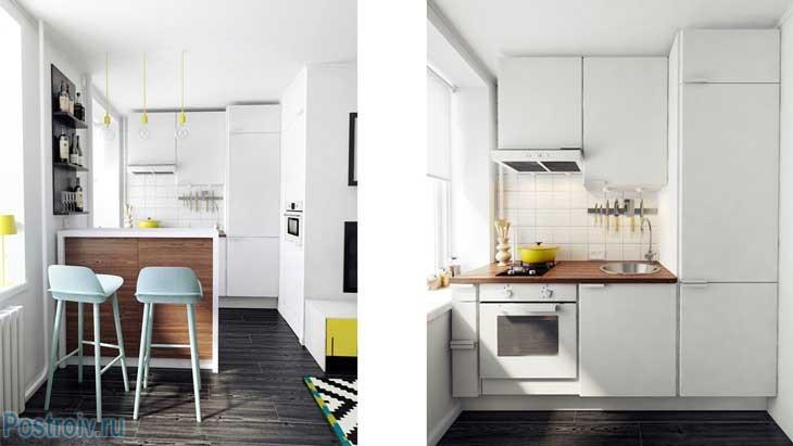 Маленькая кухня с барной стойкой в хрущевке. Белый цвет бытовой техники - Фото