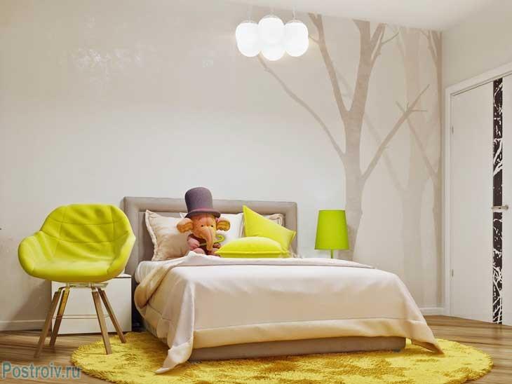 Салатовый цвет и цвет топленого молока. Модное сочетание цветов для комнаты подростка. Фото