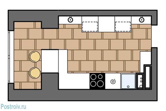 Вид планировки кухни, объединенной с балконом. Обеденная зона на балконе - Фото