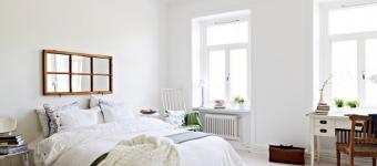 В скандинавской спальне не должно быть нагромождения мебели