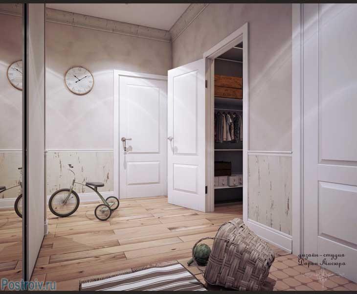 Отделка стен и потолка в коридоре в стиле прованс. Фото