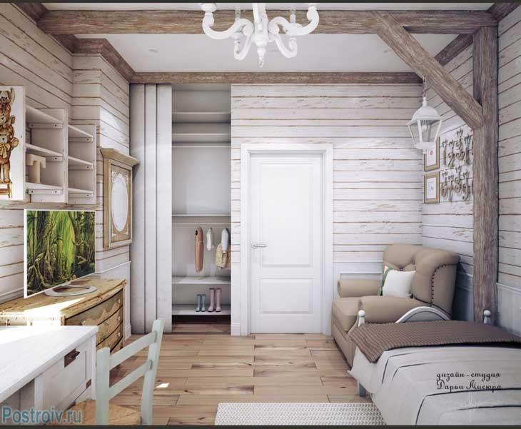 Светлая детская комната во французском стиле. Обои под бревна. Фото