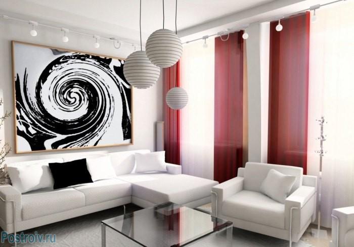 Дизайн небольшой гостиной - Фото 01