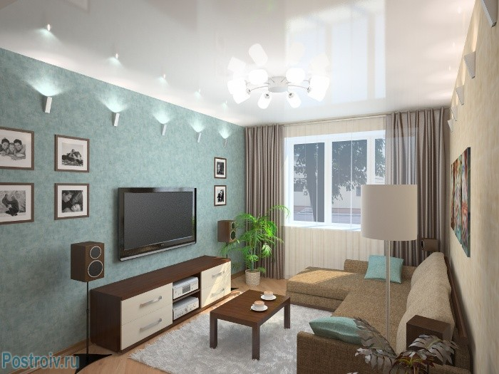 Расположение светильников в гостиной - Фото 07