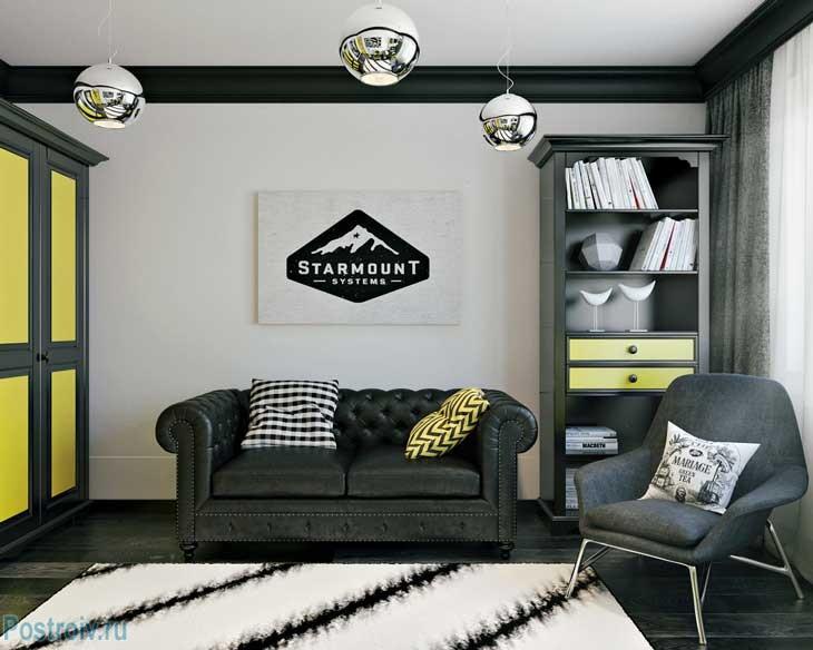 Белый ковер с черными полосами с длинным ворсом в интерьере зала. Фото
