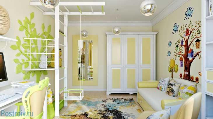 Желто-белый шкаф в детской комнате. Фото