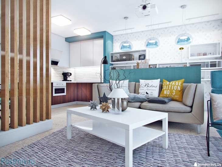 Интерьер 3 комнатной квартиры. Белый прямоугольный журнальный столик. Фото