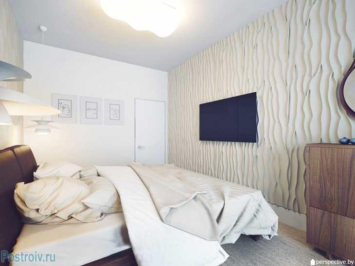 Дизайн светлой спальни 2015 с фактурной стеной. Фото