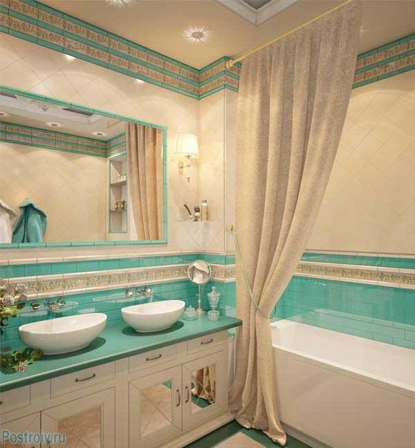 Бирюзовая ванная комната. Фото