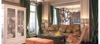 Гостиная в английском стиле. Зеленые шторы и белый буфет. Фото