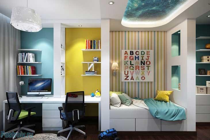 Голубой и желтый цвета в интерьере детской комнаты. Фото