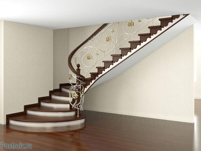 Дизайн лестницы для дома в классическом стиле. Фото