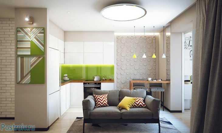 Дизайн кухни малогабаритной однокомнатной квартиры. Фото