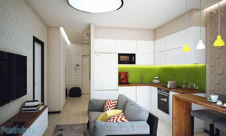 Кухня-гостиная в малогабаритной однокомнатной квартире. Фото
