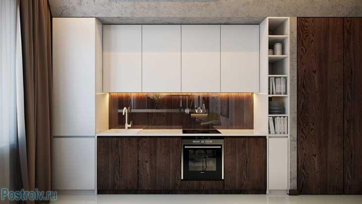 Кухня цвета венге с белым. Фото