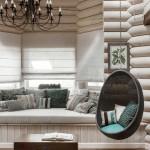Кованная люстра и подвесное кресло в загородном доме. Фото