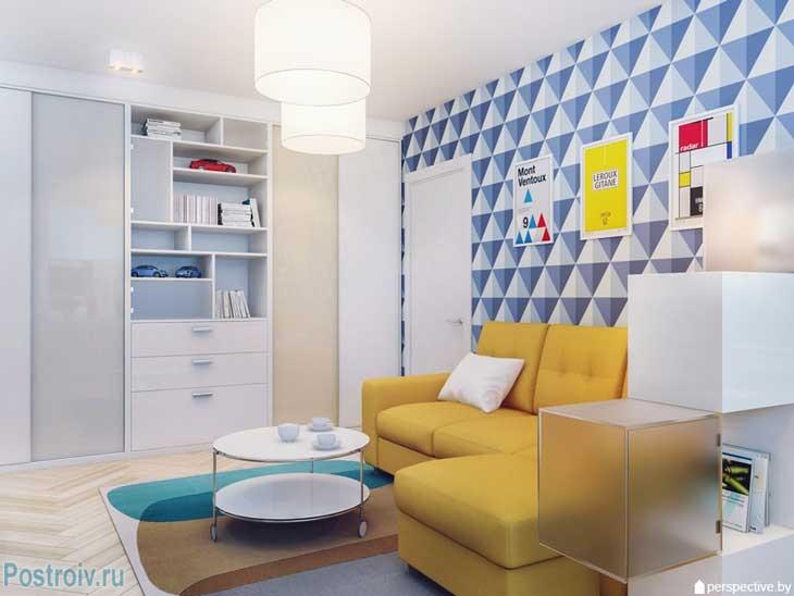 Дизайн комнаты в однокомнатной квартире 36 кв. м. Фото
