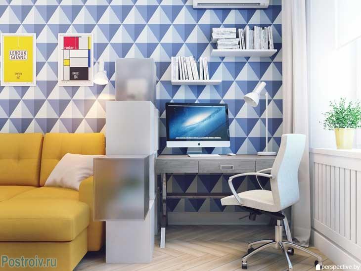 Зона для работы в однокомнатной квартире. Письменный стол и стул. Фото