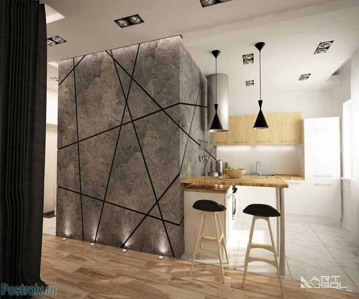 Барная стойка для визуального разделения кухни с гостиной. Фото