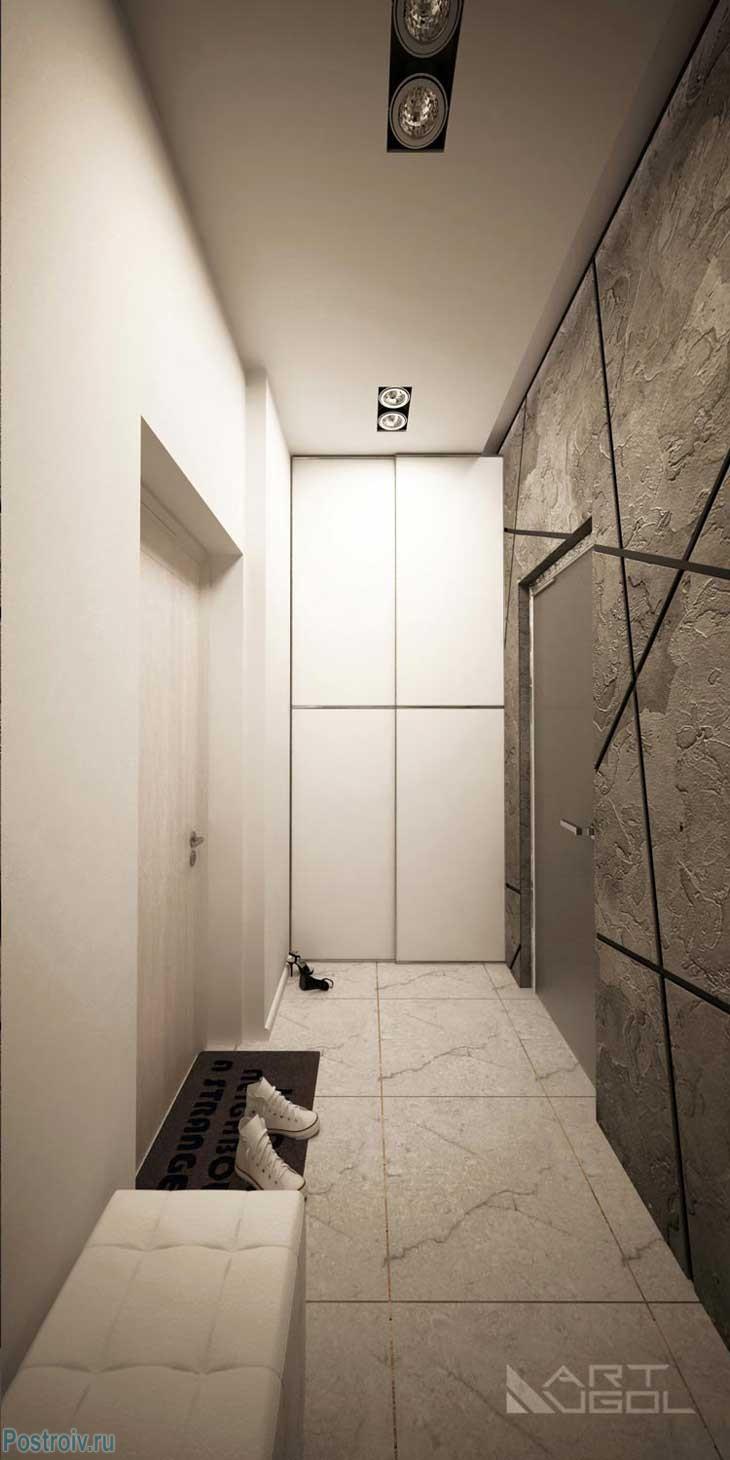 Прихожая в однокомнатной квартире с нишей. Фото