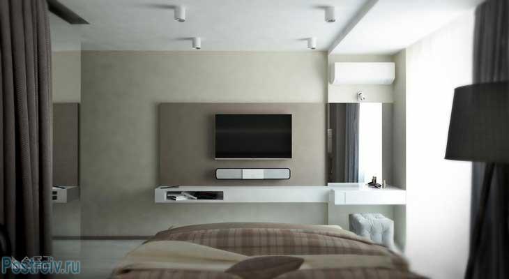 ТВ и саундбар в спальне.  Фото