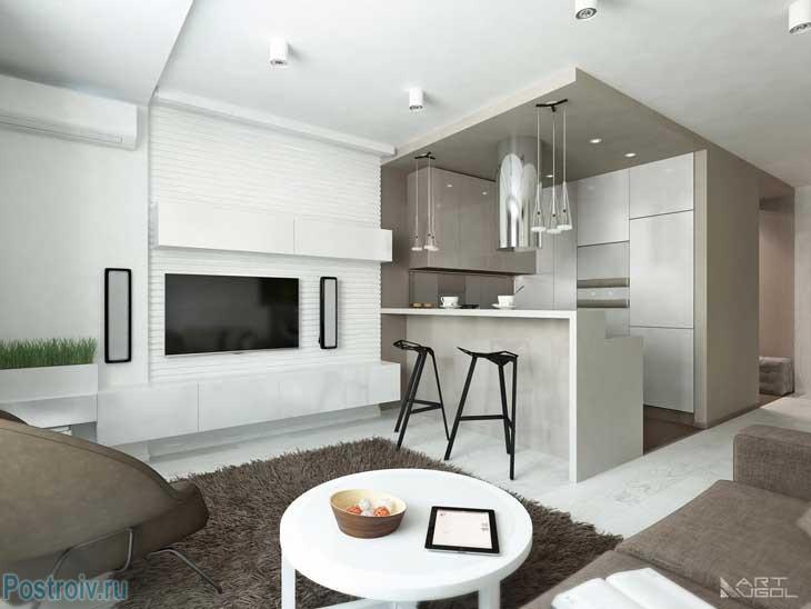 Фотография современного ремонта квартиры в Москве. Гостиная-кухня. Фото